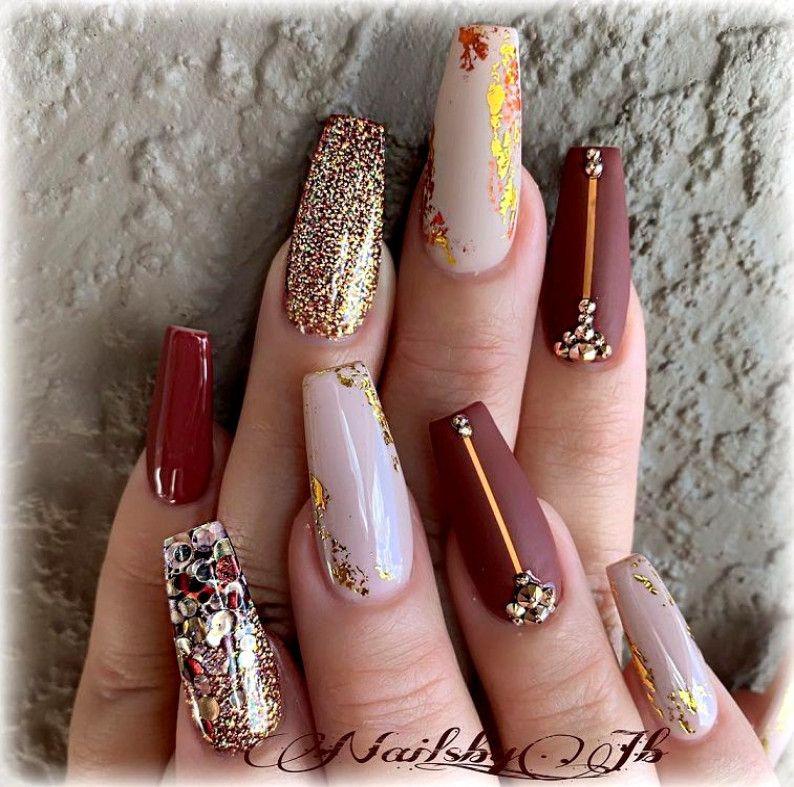 Fall Colors Nail Fashion Coffin Nails Coffin Nails Designs Fall Acrylic Nails Nails