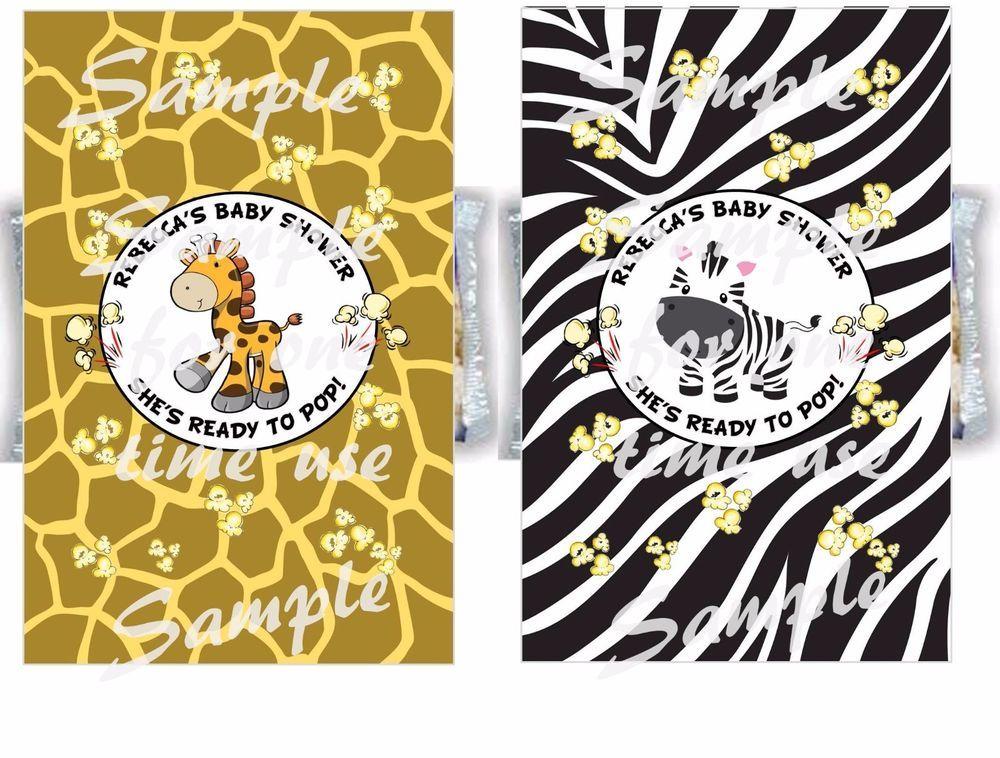 Personalized Giraffe Zebra Safari Baby Shower Popcorn Wrappers