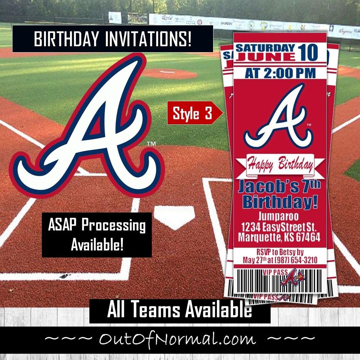 Atlanta Braves Mlb Baseball Birthday Invitation Ticket Style Baseball Birthday Invitations Baseball Baby Shower Baseball Ticket