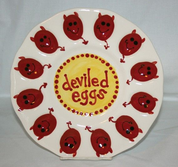 Deviled Egg Plate  Cute Little Devils by JWGiftware on Etsy, $25.00