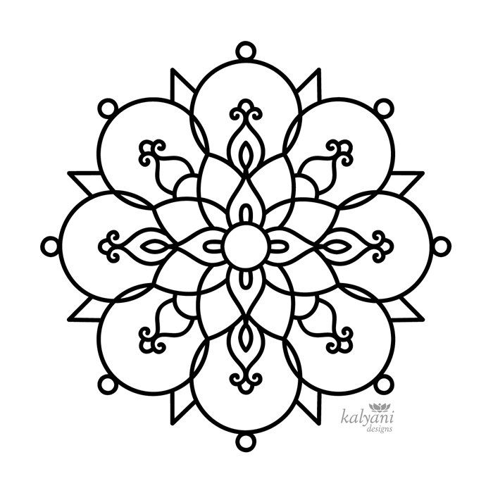 Five Rangoli Colouring Pages Printable Digital Sheets Detailed Coloring Pages Coloring Pages Pattern Coloring Pages