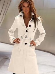 Sexy wollen jas Medium-lange Ontwerp Coat Zwart/Wit €49,95