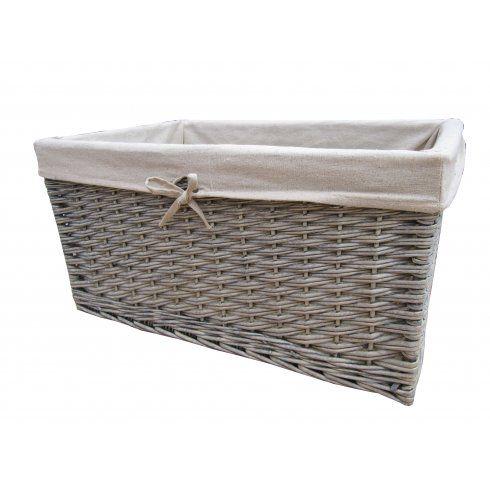 Grasmere Grey Wash Wicker Storage Basket   Rectangular Lined