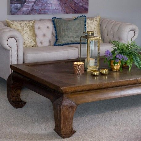 A Large Antique Chinese Elm Opium Table With A Brown Lacquerd Wooden Top.  This Beautiful