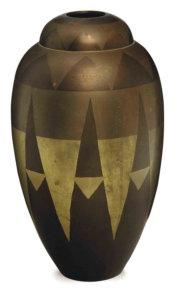 Art Deco Vase French Ca1930 Dinanderie Brassk Objects