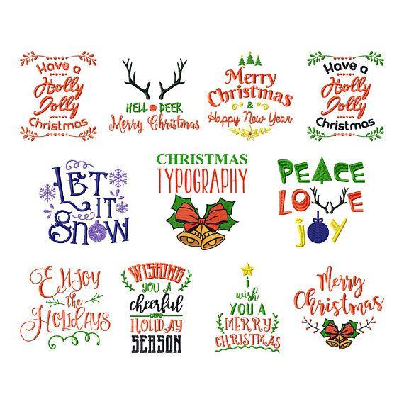 Christmas Sayings.Christmas Sayings Collection Of 11 Machine Embroidery