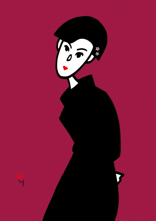 Illustration. Woman 濃紅