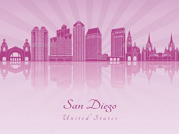 San Diego Skyline in Purple by paulrommer | GraphicRiver