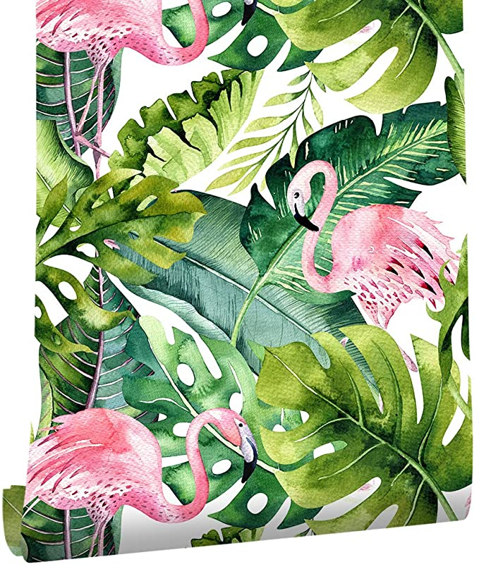 Haokhome 93013 Flamingo Palm Tree Peel And Stick Wallpaper Removable Green Pink Vinyl Self Adhesive C Modern Floral Wallpaper Flamingo Wallpaper Palm Wallpaper