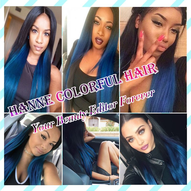 Straight Peruvian Dark Roots Blue Human Hair 1 Bunlde Remy Hair Blue