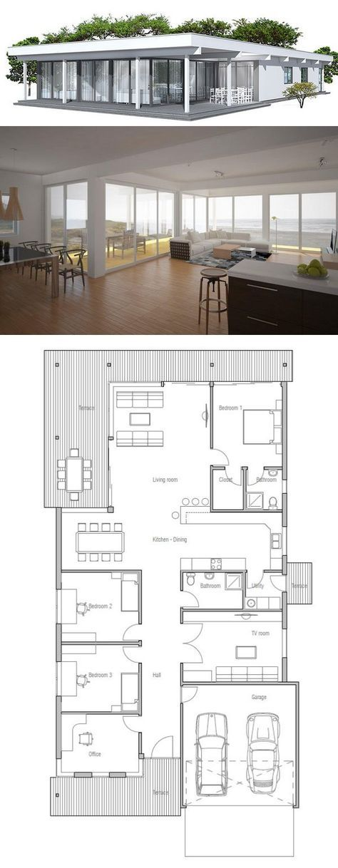 Narrow House In Modern Contemporary Architecture Floor Plan From Concepthome Com Contemporary House Plans Container House Plans Architecture House