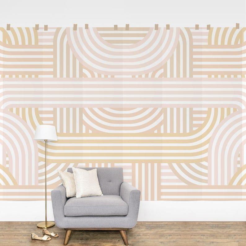 Beige Geometric Removable Wallpaper Soft Geometric Peel And Etsy In 2021 Geometric Removable Wallpaper Removable Wall Murals Wall Murals