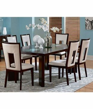 Dream Furniture Teak Wood 6 Seater Luxury Dining Table Set Red