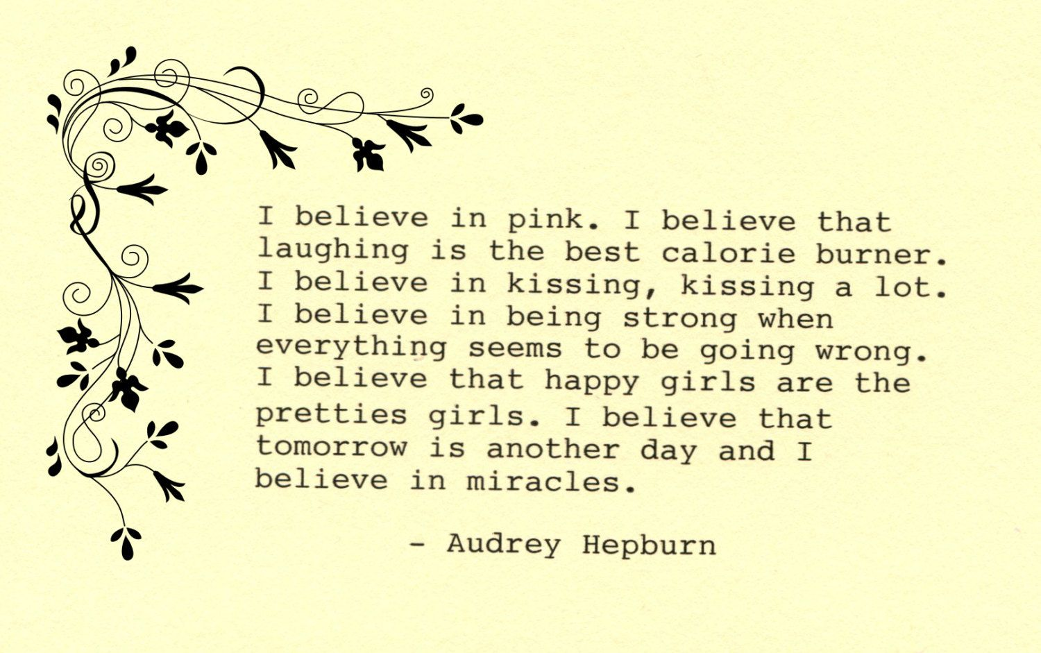 Audrey Hepburn Quote Made on Typewriter Art Quote Wall Art - I ...