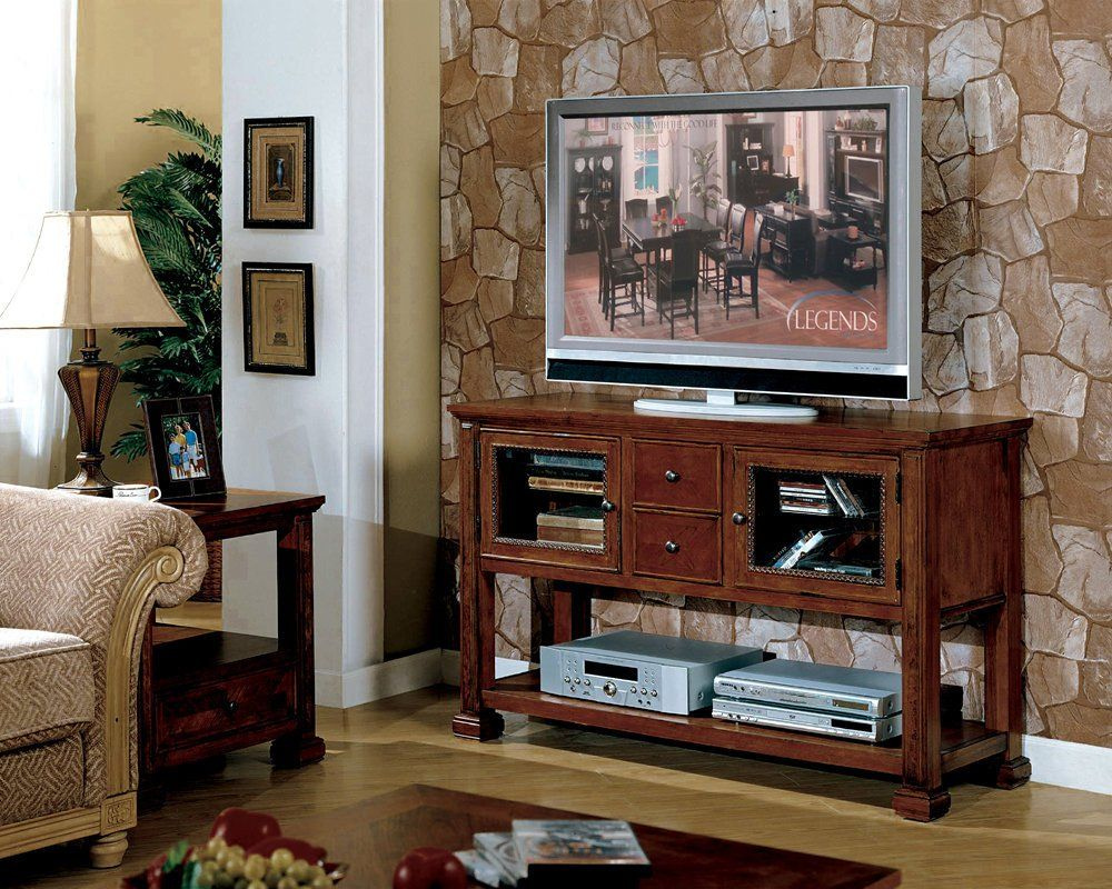 Highboy TV Stand Tall TV Console in Rustic Cherry Finish
