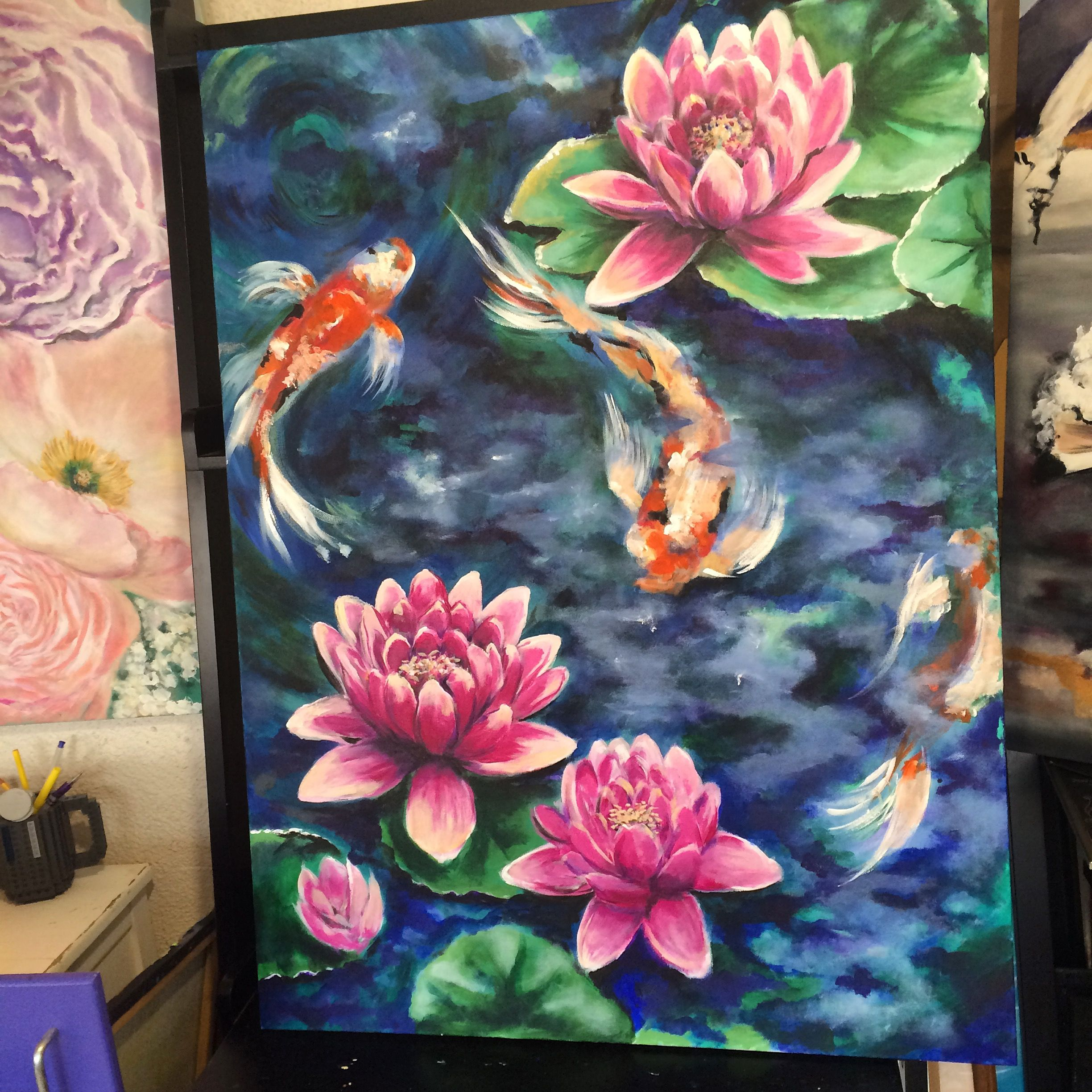 Koi fish pond with lotus flowers surrounding colorful for Koi fish art paintings