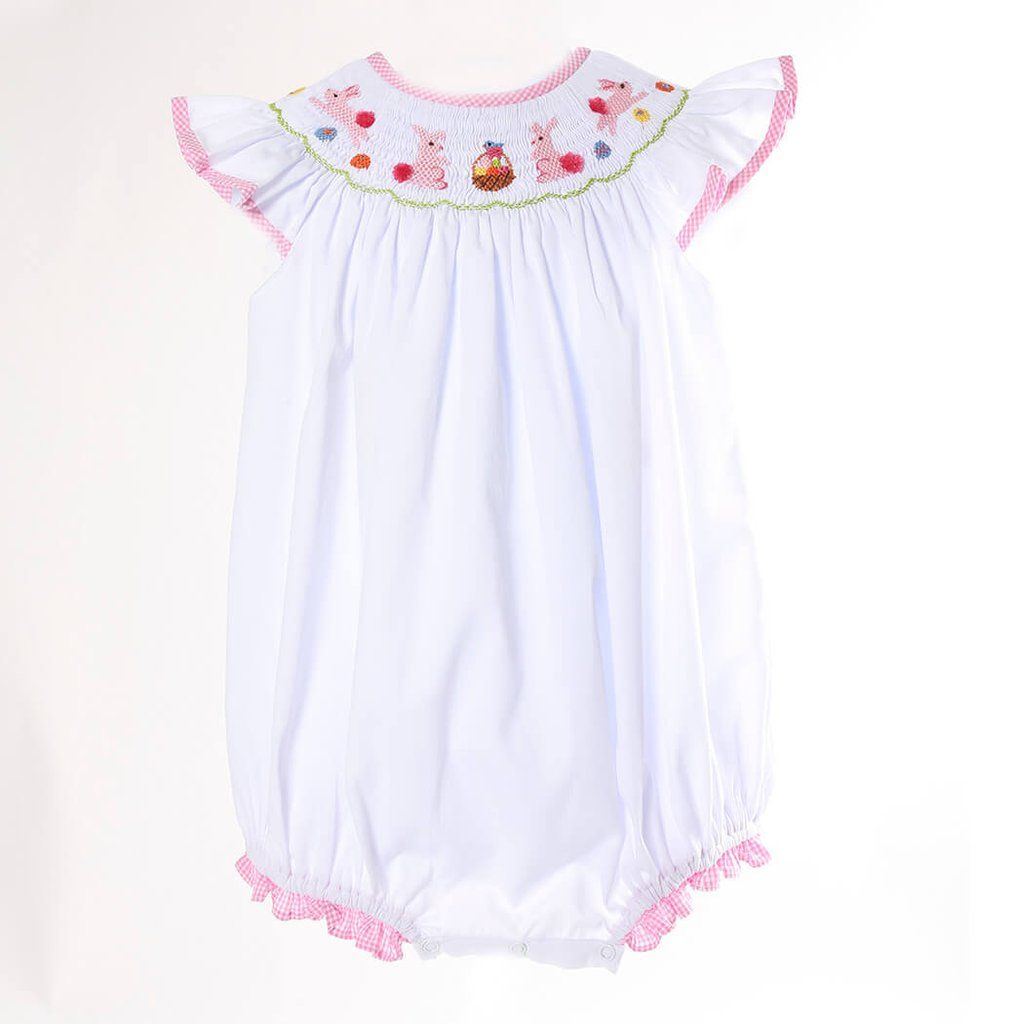 3b49f58e0 Smocked Bunny and Basket Girls Bubble - This adorable girls bubble is  perfect for Easter Egg Hunting! Features smocked Easter bunnies and Easter  baskets on ...