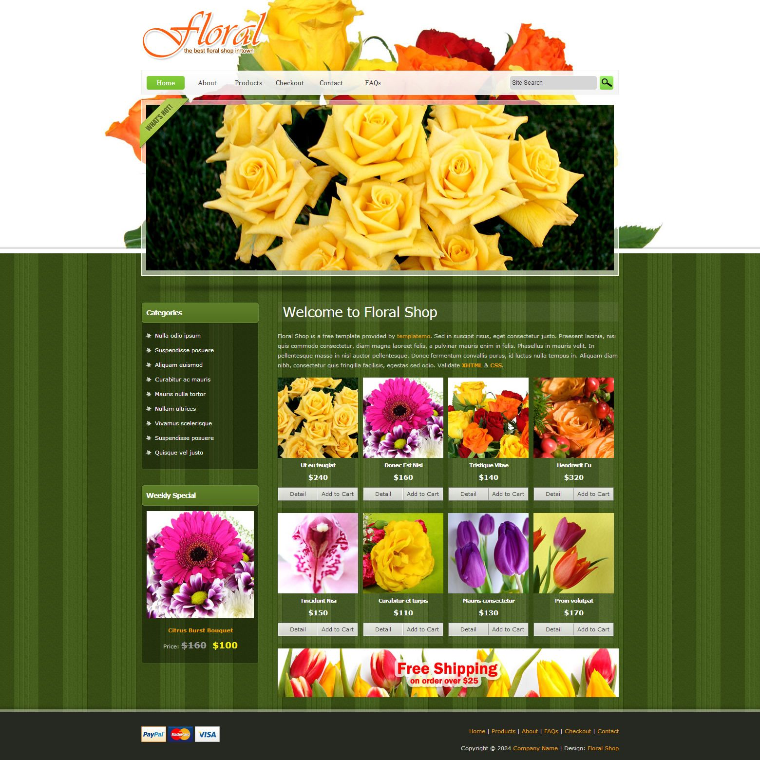 Floral Shop Is Free Website Template For Ecommerce Stores Or Online - Free ecommerce website templates shopping cart