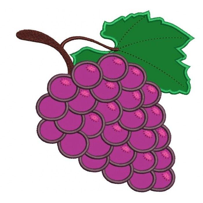 Grapes Applique Machine Embroidery Fruit Digitized Design ...