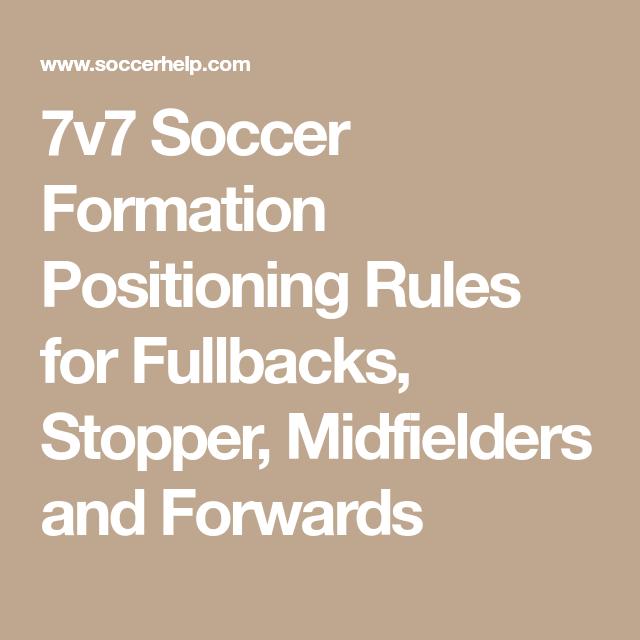 7v7 Soccer Formation Positioning Rules For Fullbacks Stopper Midfielders And Forwards Soccer Rules Math
