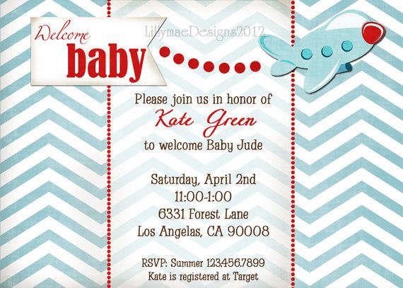 airplane baby shower banner - its a boy party sign - airplane, Baby shower invitations