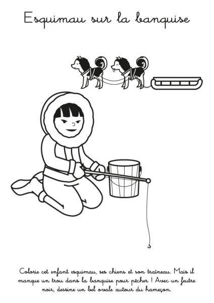 Coloriage à imprimer : Esquimau sur la banquise   banquise   Pinterest