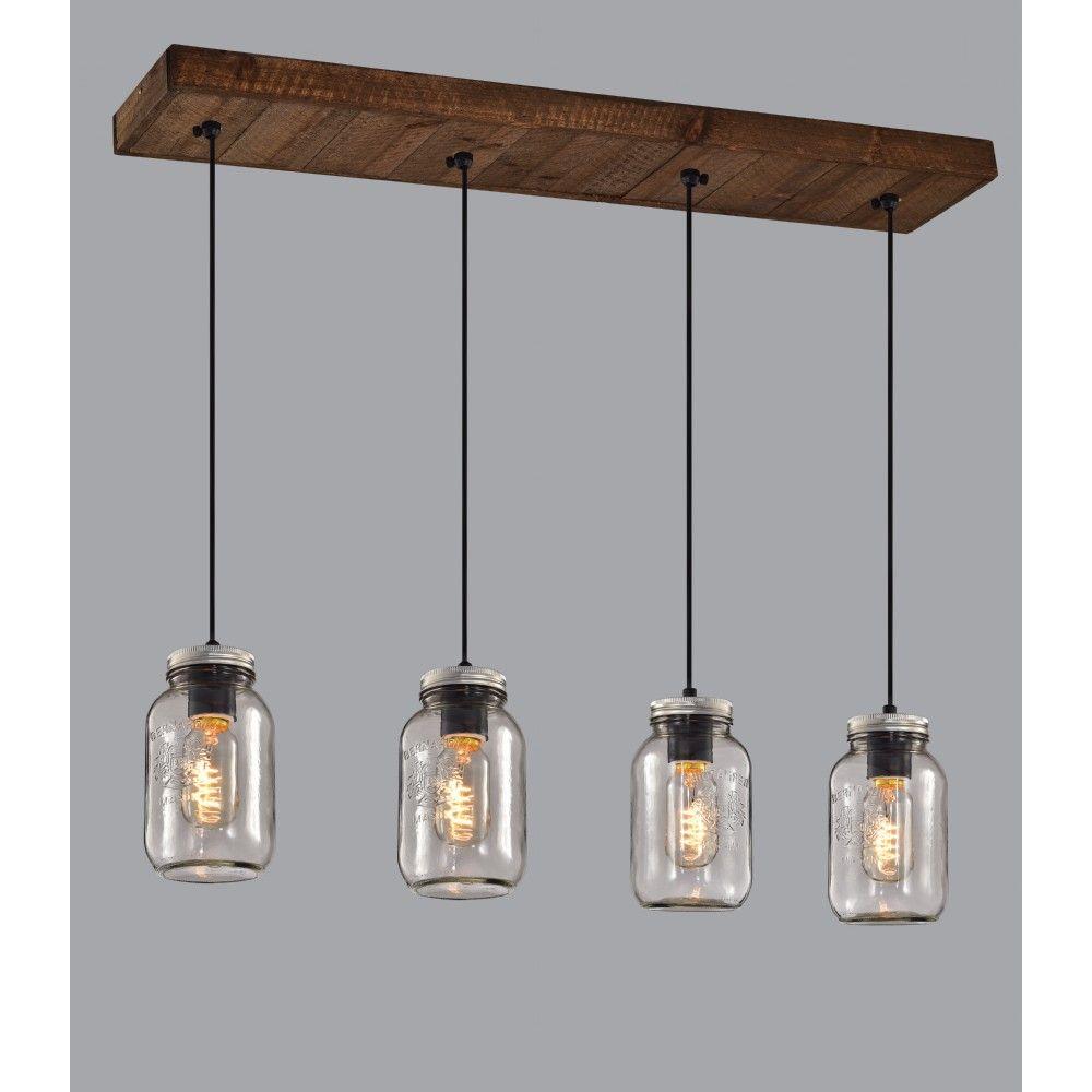 luminaire suspendu sur base en bois avec pots mason en verre clair