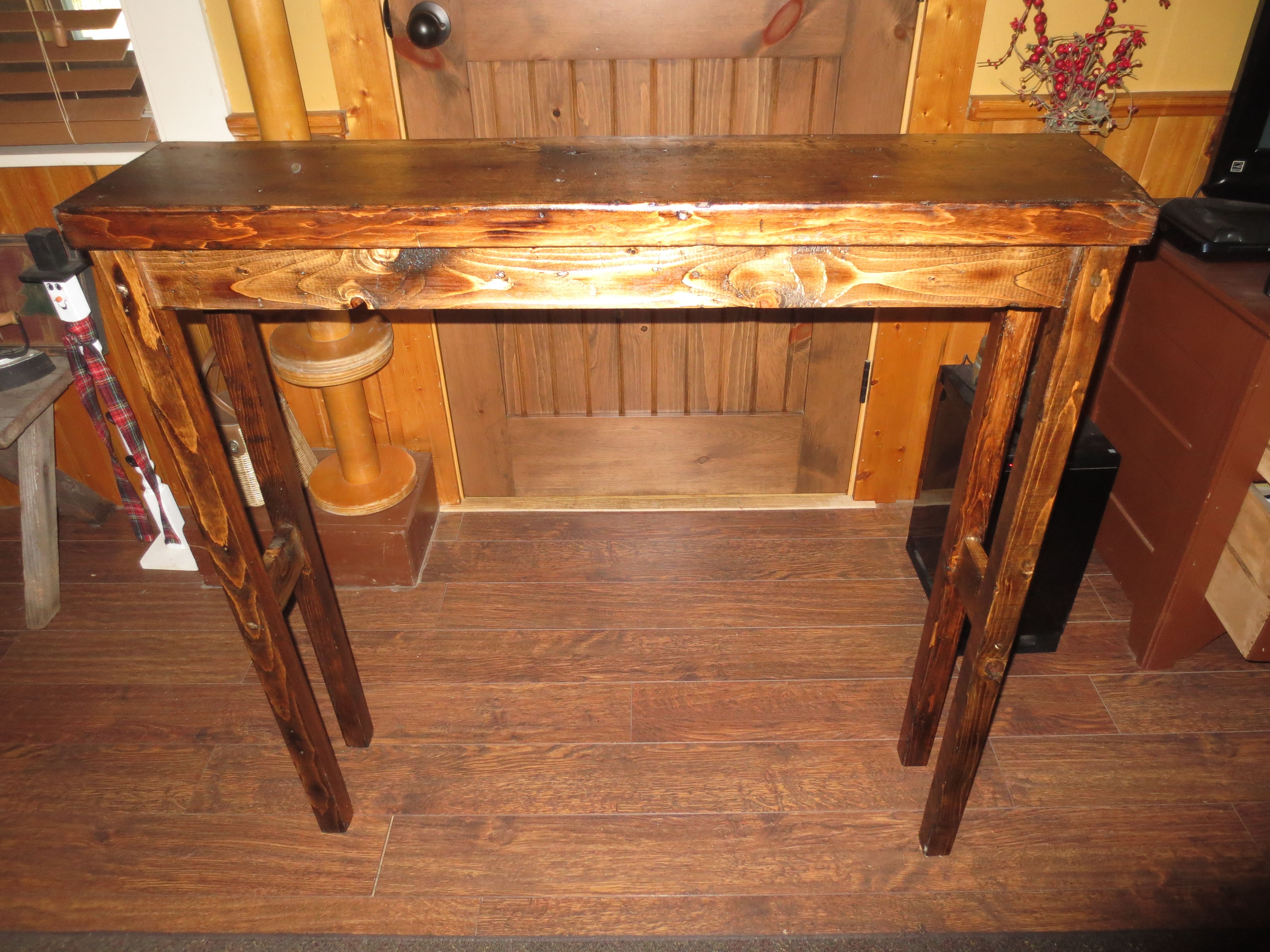 Brilliant Small Rustic Sofa Table Made From Old Beams And Wood 36 Pabps2019 Chair Design Images Pabps2019Com