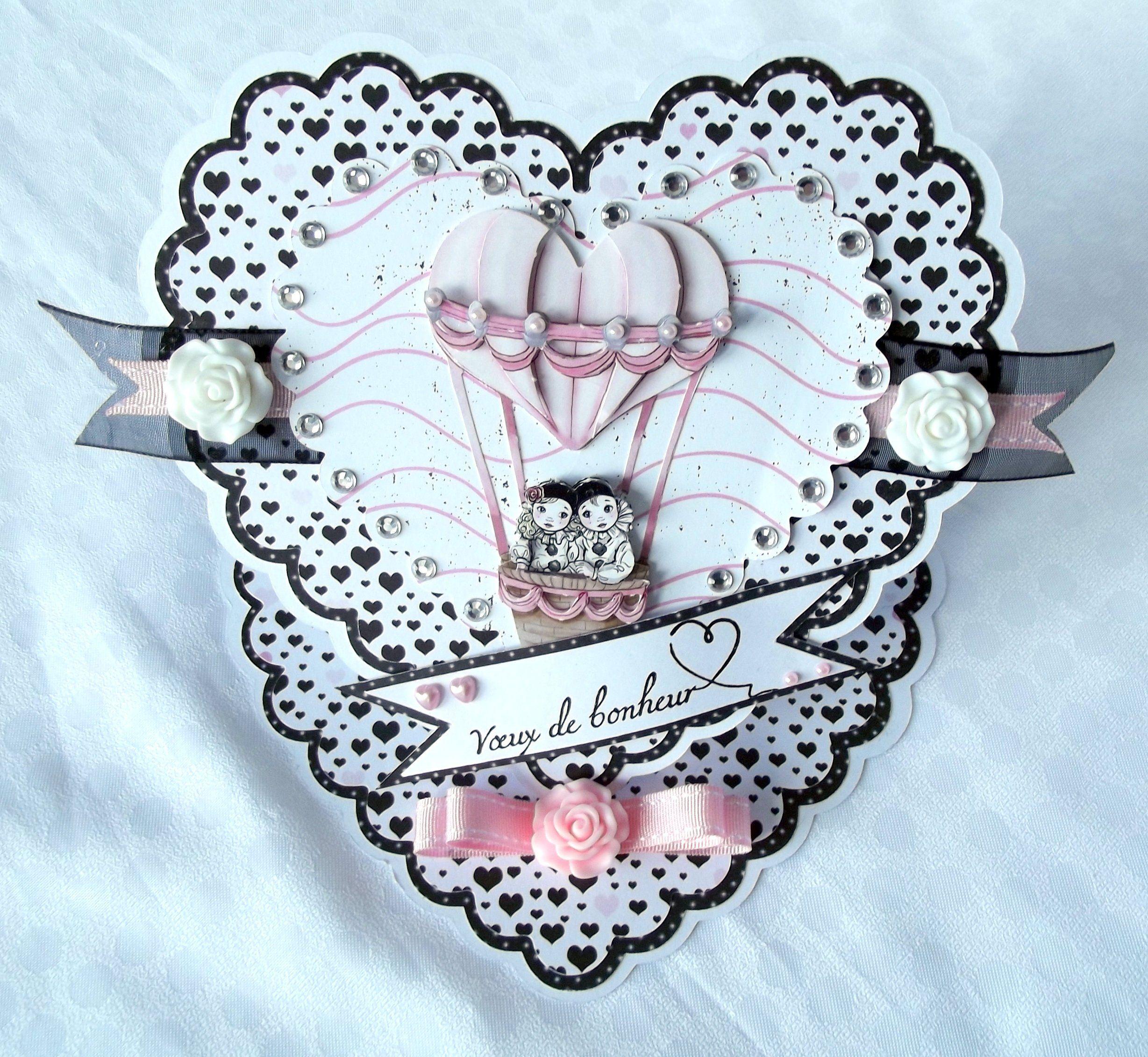 Carte Mariage En Forme De Coeur A Poser Carte Chevalet 3d
