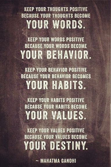 Intentional Living: Your words, your behavior, your habits, your values, your destiny.