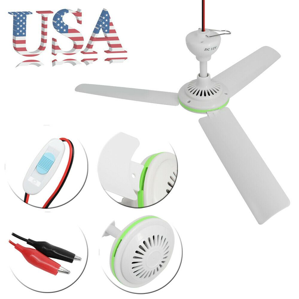 12v Solar 3 Blade Ceiling Emergency Fan Powerful Caravan Camping W Switch Us Ceiling Fans Without Lights Ceiling Fan With Light Ceiling Fan