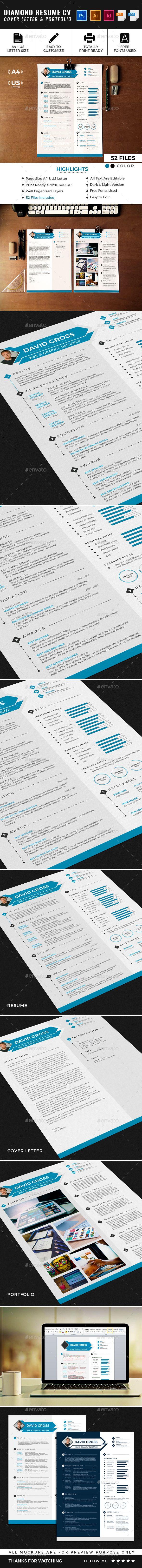 Diamond Resume CV Template Cv