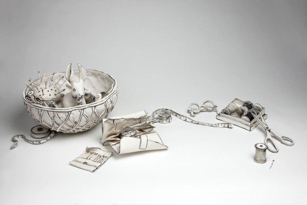 46 3d Ceramic Artworks That Look Like Pen Drawings Pouted Com In 2020 Ceramic Artwork Pen Drawing Sculpture Clay