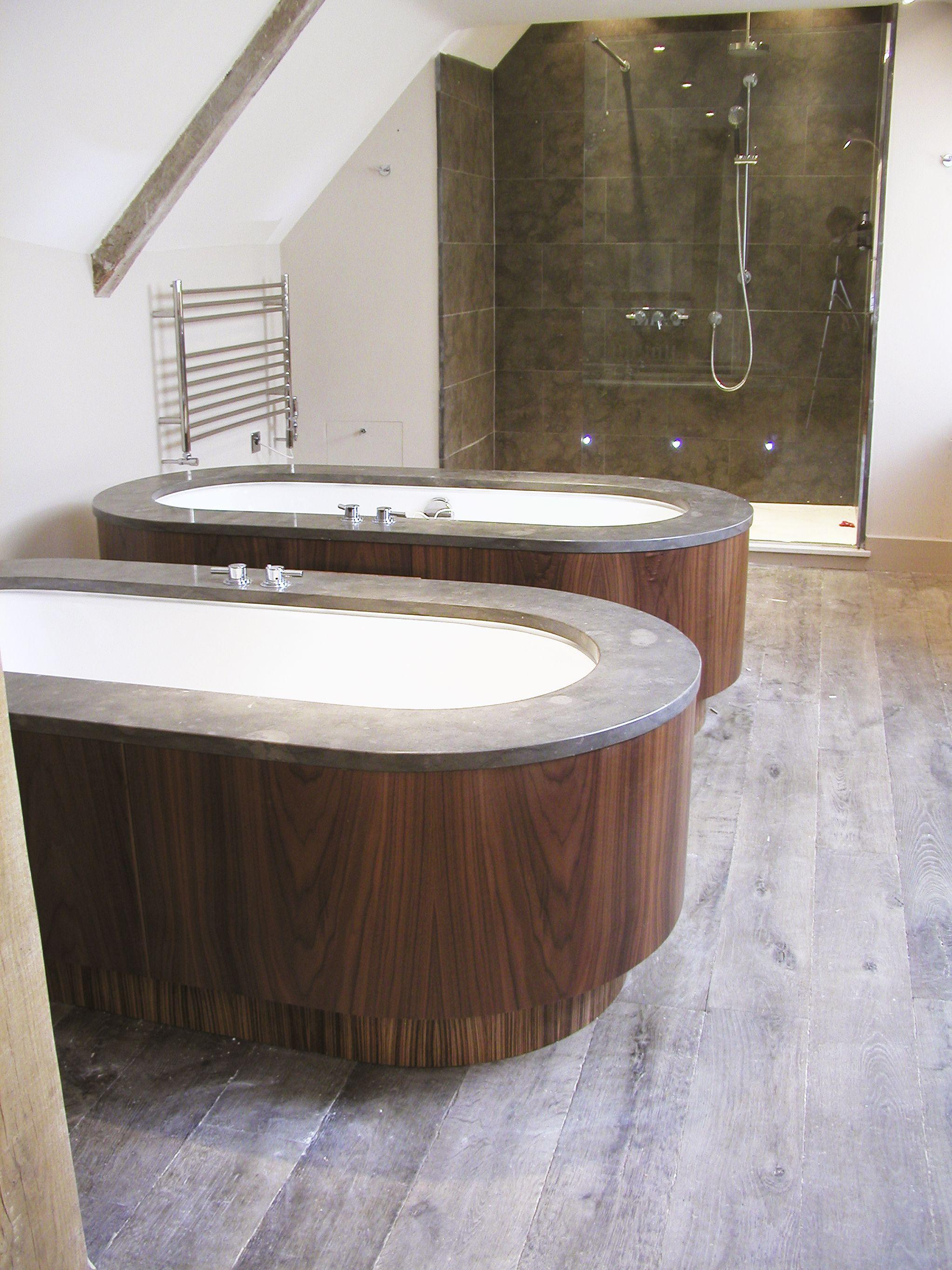 Stone and walnut bath surrounds- Calcot Manor Hotel. | Jonathan Lear ...