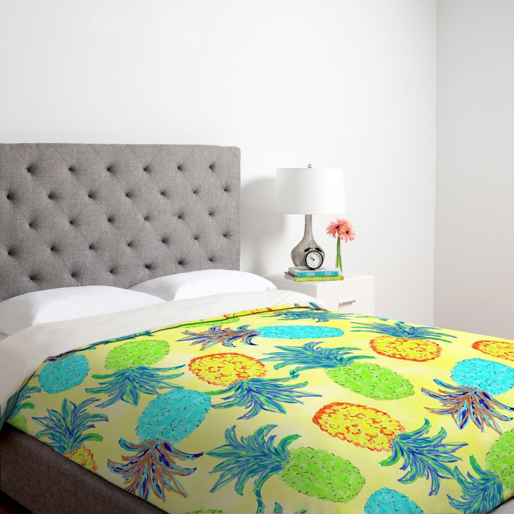 Pineapple Bedroom Furniture Lisa Argyropoulos Pineapple Pandemonium Yellow Duvet Cover