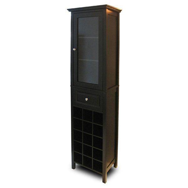 Wood Tall Storage Cabinet Tower Mini Bar Home Bar Wine Rack Wine ...