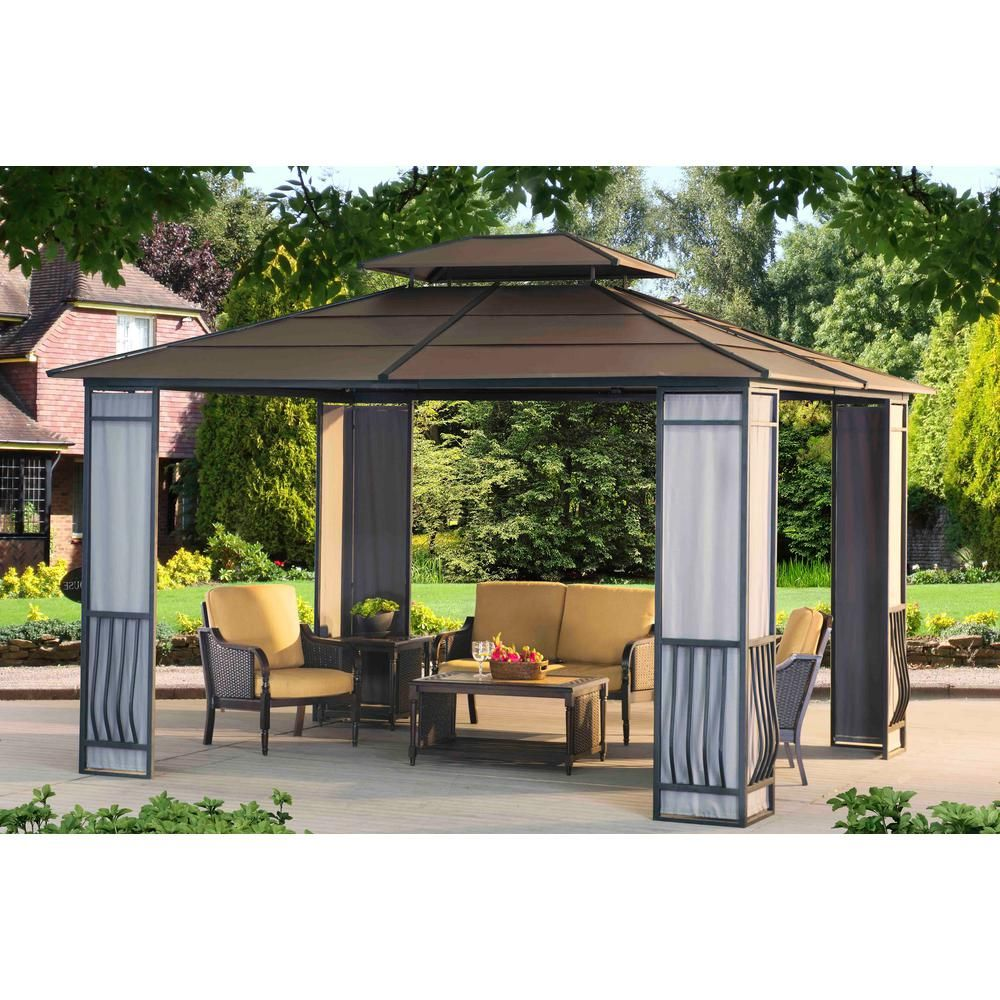 Sunjoy Madison 12 Ft X 10 Ft Faux Copper Steel Gazebo 110102006 The Home Depot Steel Gazebo Gazebo Patio Gazebo