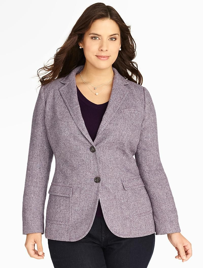 Plus size flannel shirt dress  Talbots  Herringbone Shetland Blazer  Jackets  Woman  Stuff I