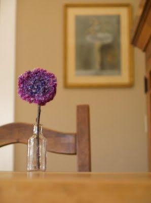 Finger-knitted flowers.