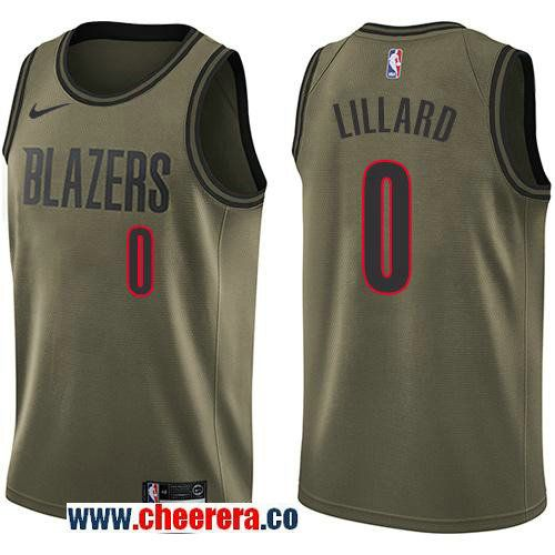 993779459 Men s Nike Portland Trail Blazers  0 Damian Lillard Green Salute to Service  NBA Swingman Jersey