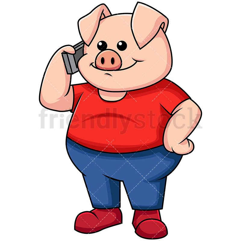 Pig Talking On Mobile Phone Vector Cartoon Clipart Friendlystock Anime Mobile Cartoon Clip Art Mobile Phone Logo