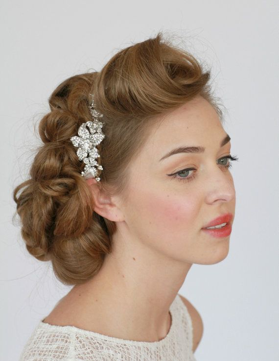 Vintage Style Wedding Headband Ribbon Hair Accessories Crystal