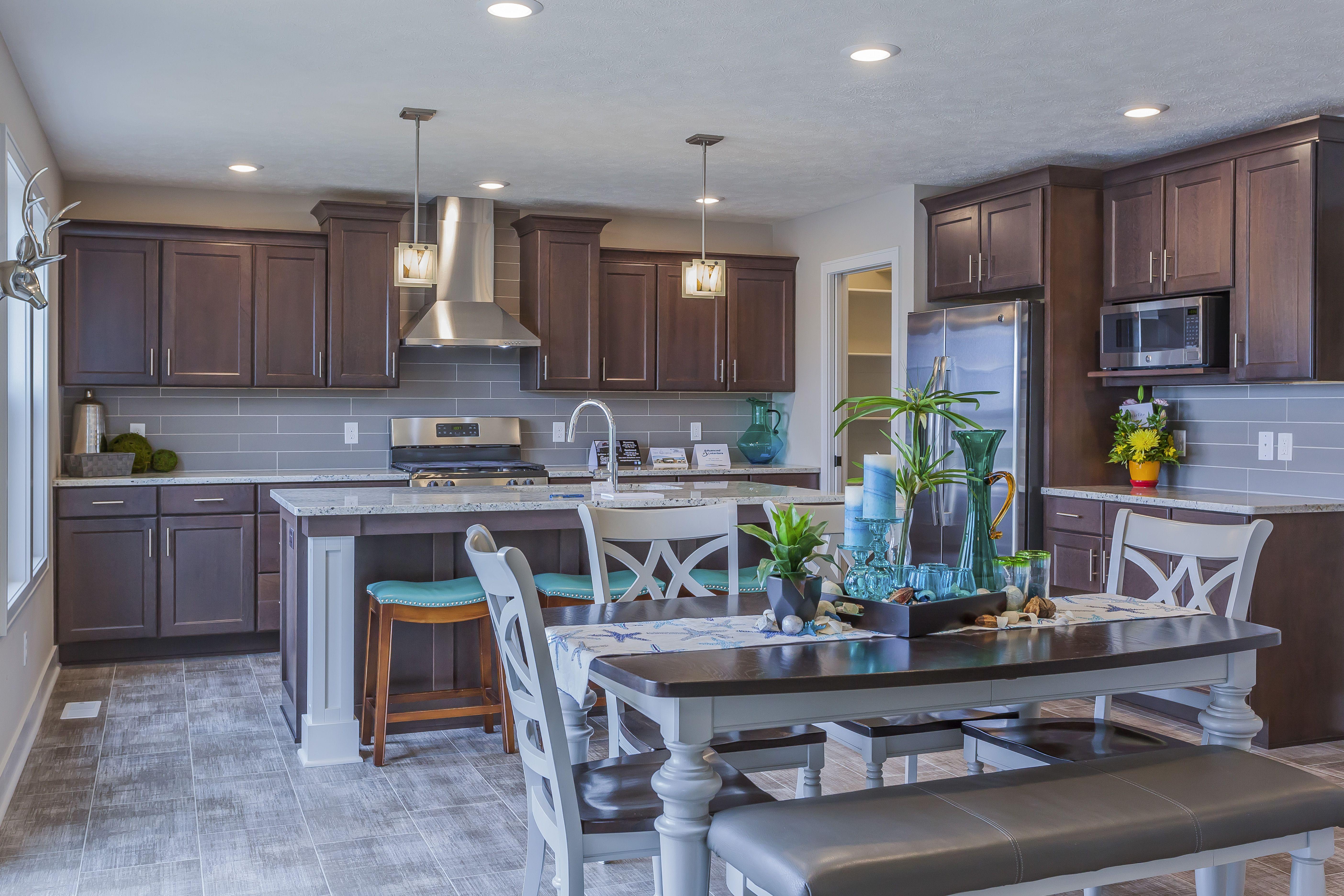 Dark Wood Kitchen with Grey Tile Backsplash Tile