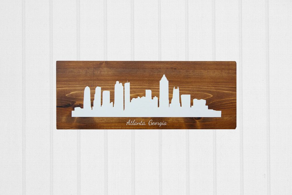 Rustic Home Decor, Skyline Art, Atlanta Georgia, Wooden decor by ElleBellaDecor on Etsy https://www.etsy.com/listing/262453483/rustic-home-decor-skyline-art-atlanta