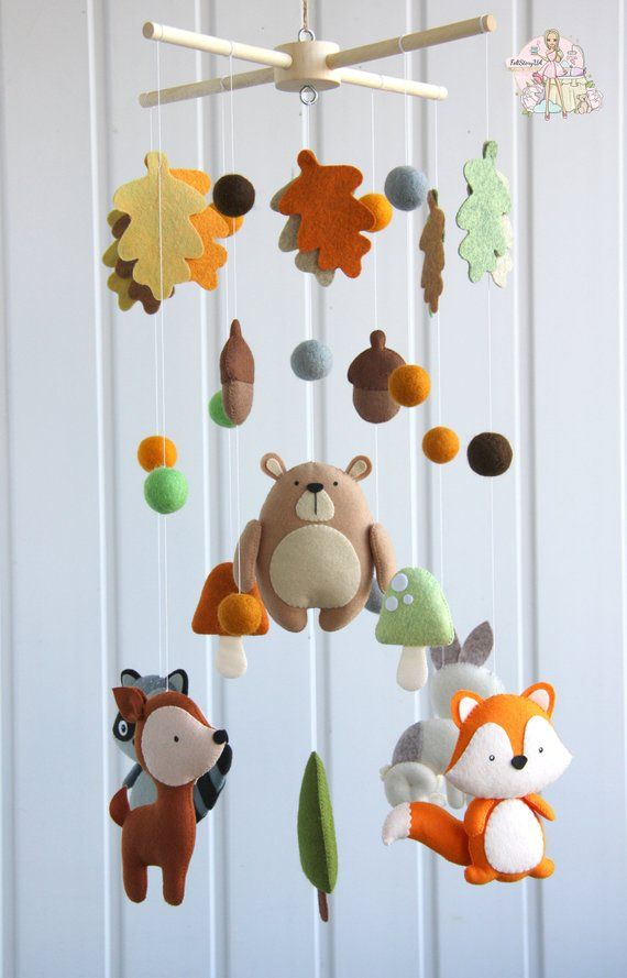 Woodland mobile baby boy for crib Forest nursery decor
