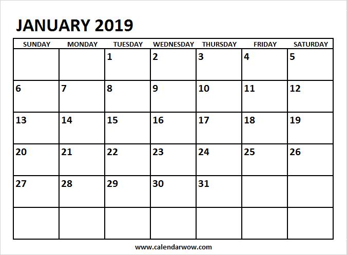 January 2019 Calendar Printable 2018 Calendar Pinterest