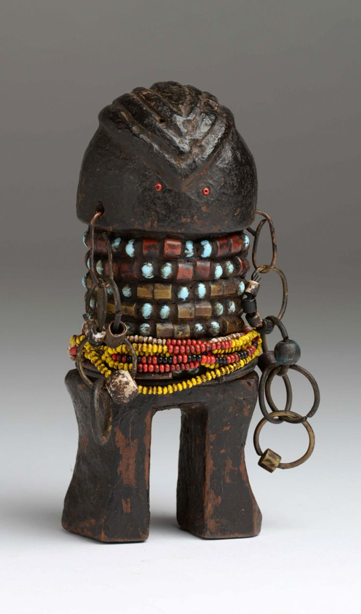 Africa | Doll from the Zande people of DR Congo | Wood, glass beads, metal and natural fiber