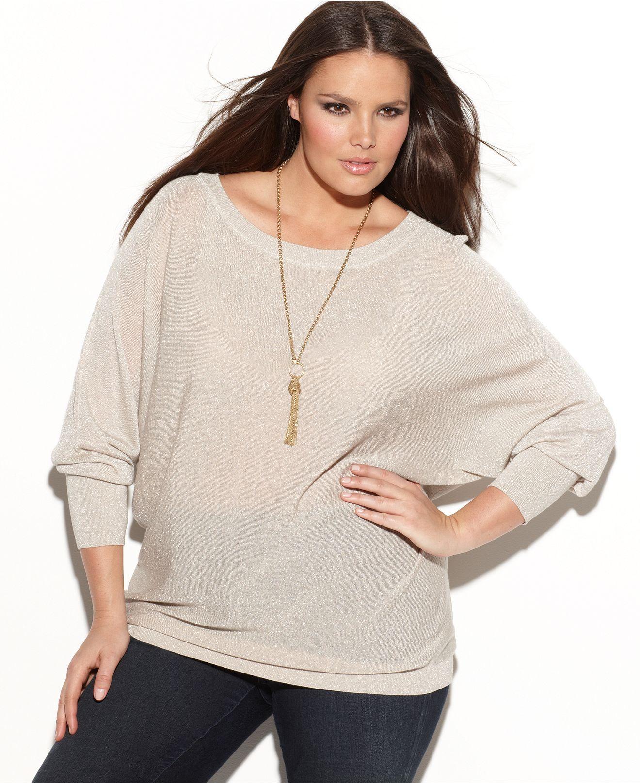 INC Womens Plus Metallic Pintuck Tunic Sweater