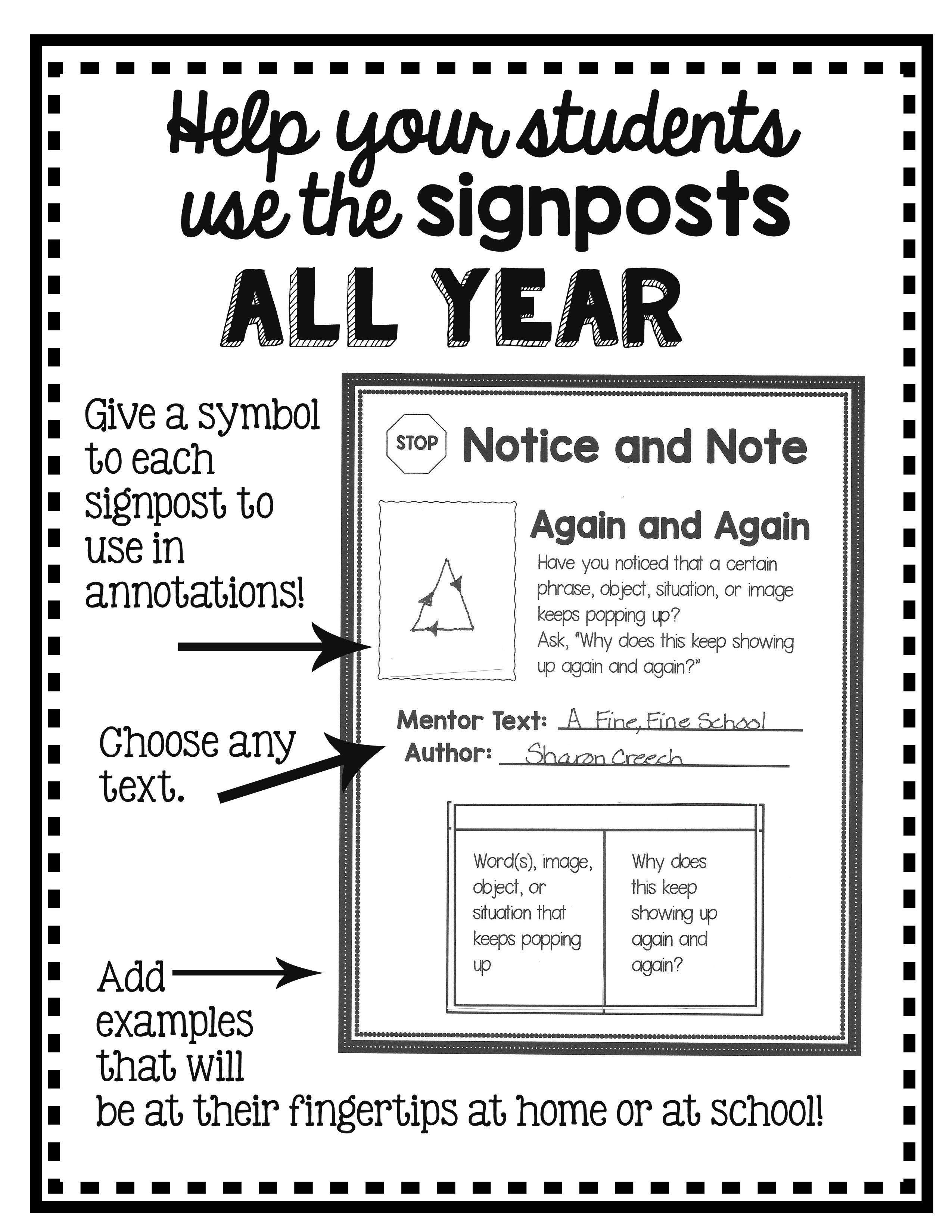 Interactive Notebook Pages for the Notice and Note
