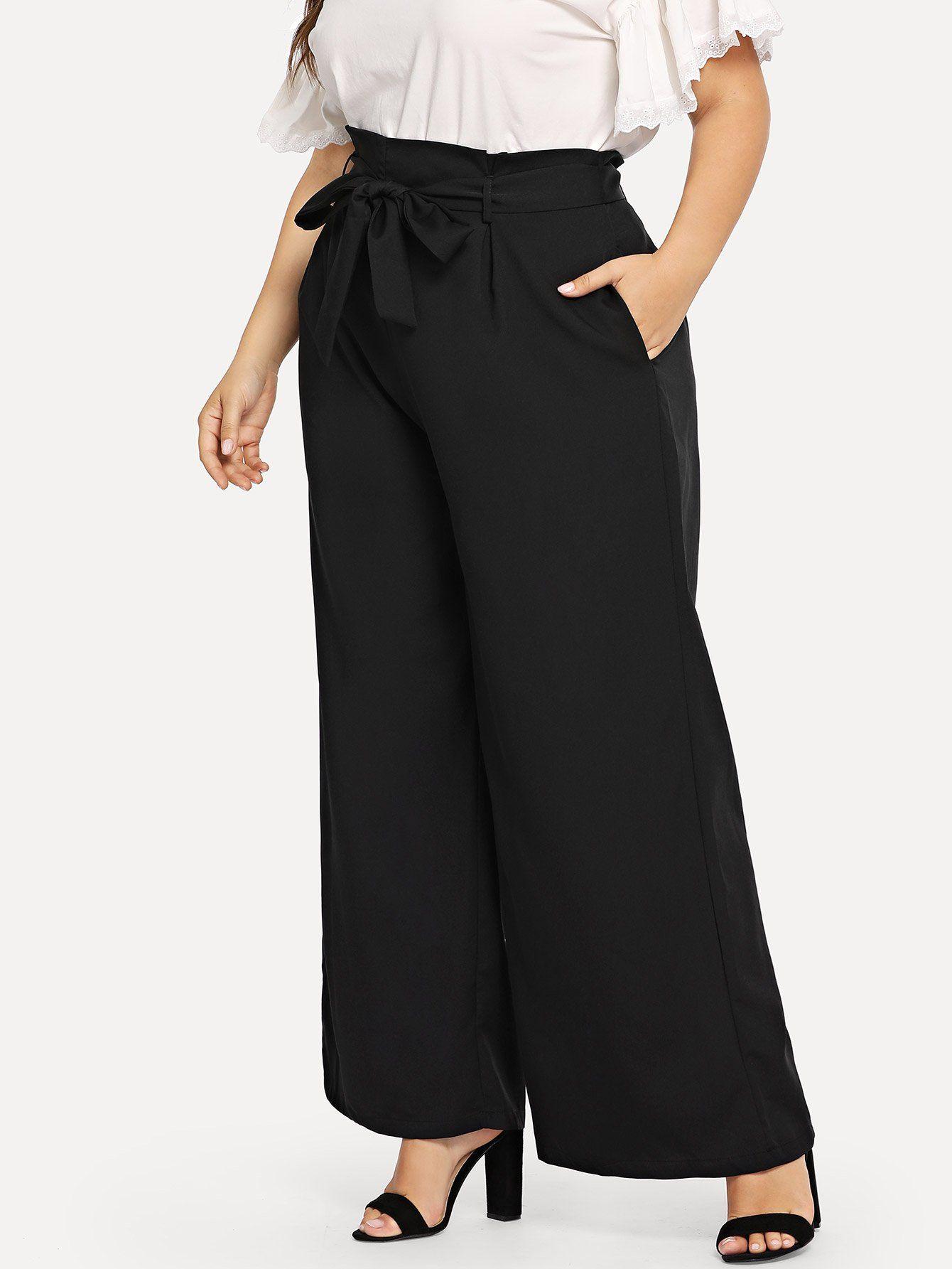 5c60bfd01084 plus waist belted pocket wide leg pants. #fashion #plus size #plus size  pants